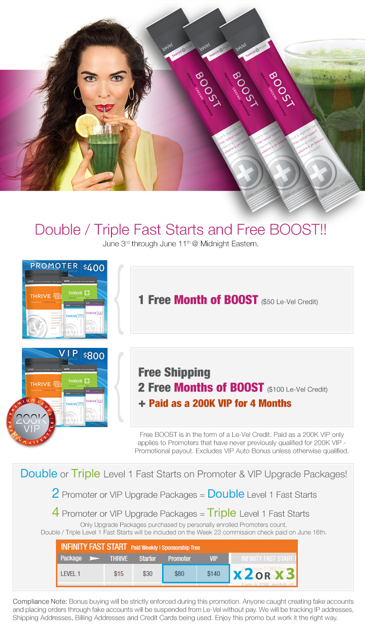 Double or Triple Fast Starts and Free BOOST!!